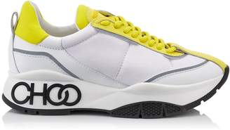 Jimmy Choo RAINE Pop Yellow Neoprene Calf and Rubberised Lace Up Trainers with Grey Reflective Strip