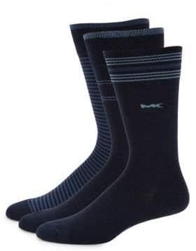 Michael Kors Three-Pack Striped Crew Socks