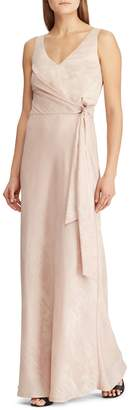 Lauren Ralph Lauren Slim Fit Metallic Jacquard Sleeveless Gown