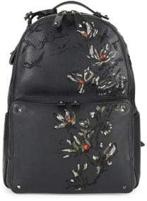 Valentino Pebbled-Leather Embroidery Backpack