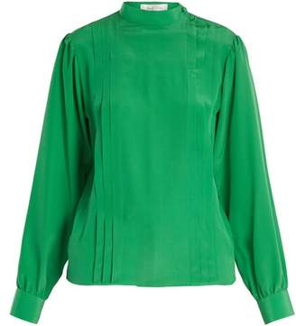 Valentino Pleated Silk Crepe De Chine Blouse - Womens - Green