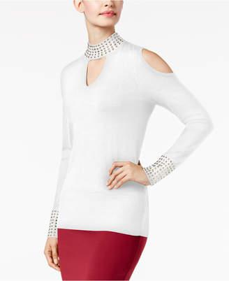Thalia Sodi Studded Mock-Neck Cold-Shoulder Sweater