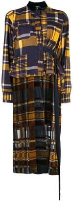 Sacai check pattern shirt dress