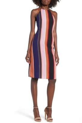 4SI3NNA Strappy Back Stripe Midi Dress
