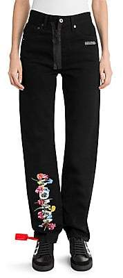 Off-White Women's Floral Text Baggy Jeans
