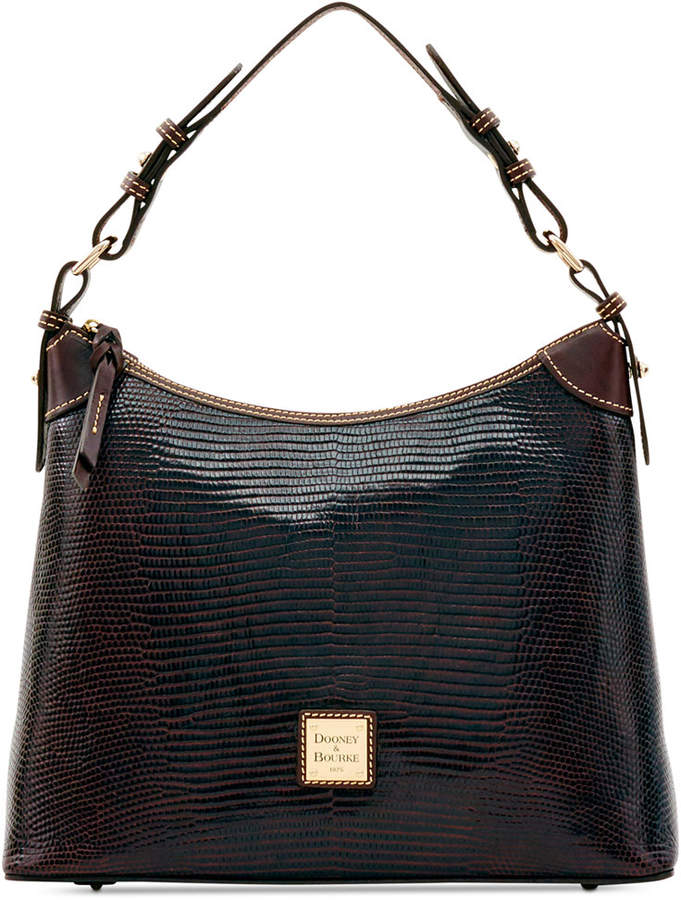 Dooney & Bourke Lizard-Embossed Hobo, Created for Macy's - BLACK - STYLE