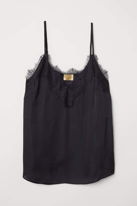 H&M Satin and Lace Camisole Top - Black