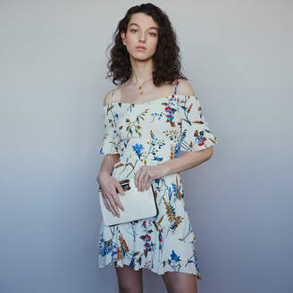 Maje Short printed dress with bare shoulders