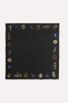 Alexander McQueen Cameo Oversized Frayed Silk-jacquard Scarf - Black