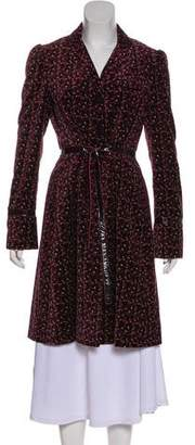 Alberta Ferretti Patent Leather-Trimmed Velvet Coat