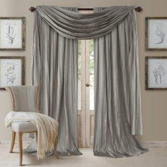 Athena Elrene Home Fashions 52 x 84 Crinkled Curtain Panels, Pair with Scarf Valance