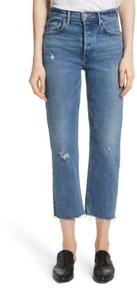 GRLFRND Helena Distressed Rigid High Waist Straight Jeans