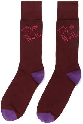 Paul Smith 'Hello' slogan intarsia socks