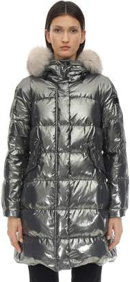 Peuterey METALLIC NYLON DOWN JACKET W/ FUR