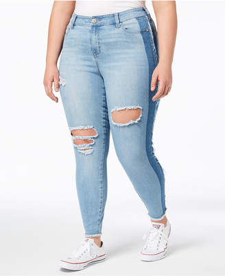 Celebrity Pink Trendy Plus Size Ripped Two-Tone Skinny Jeans