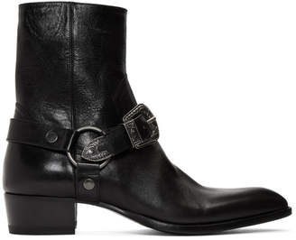 Saint Laurent Black Wyatt 40 Age Harness Boots
