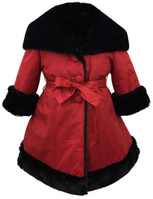 Helena Faux-Fur Reversible Hooded Coat, Size 7-14
