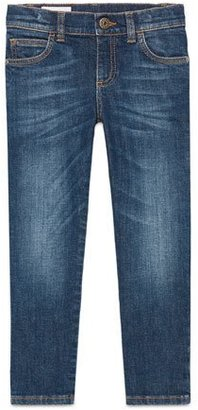 Gucci Faded Stretch Slim-Fit Denim Jeans, Blue, Size 6-12 $260 thestylecure.com