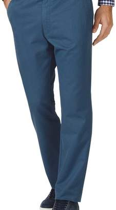 Charles Tyrwhitt Bright blue slim fit flat front washed chinos
