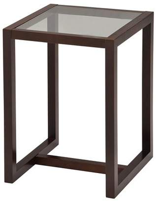 """Pilaster Designs Madge Walnut Wood & Frosted Tempered Glass Top Modern 18"""" Square Side End or Bedside Table"""
