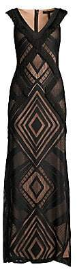 BCBGMAXAZRIA Women's Fringe-Trimmed Geometric Gown