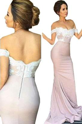 Half Flower Bridal Women's Black Off The Shoulder Evening Prom Dress Elegant Mermaid Party Dress with Slit US