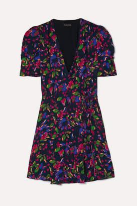 Saloni Lea Floral-print Chiffon Wrap Mini Dress - Indigo