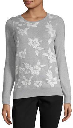Liz Claiborne Long Sleeve Crew Neck Pullover Sweater- Plus