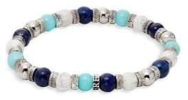 Lapis Black & White Lave Stone, and Turquoise Beaded Bracelet