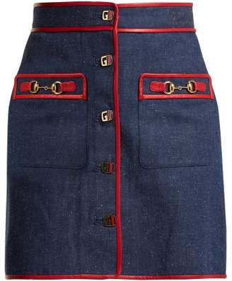 Gucci Leather Trimmed Denim Mini Skirt - Womens - Dark Blue