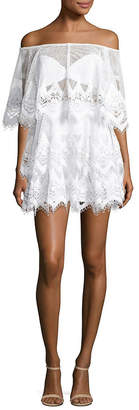 Thurley For An Angel Crochet Off-The-Shoulder Mini Dress