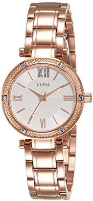 GUESS Women's Quartz Watch with Silver Dial Analogue Display and Red Stainless Steel Bracelet W0767L3