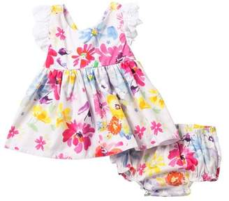 Baby Starters Floral Eyelet Ruffle Dress & Bloomer Set (Baby Girls)