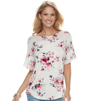 Laundry by Shelli Segal Women's French Floral Mesh Yoke Top