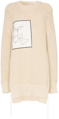 Jil Sander sketch-applique oversized knitted-cotton jumper
