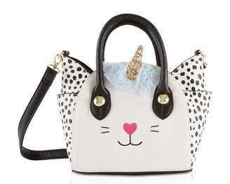 Betsey Johnson Luv Katt Uni Cat Face Small Satchel Crossbody Handbag - White Spot