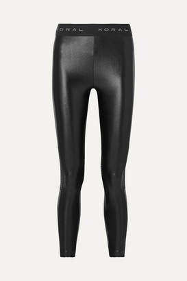 Koral Emblem Cropped Mesh-paneled Stretch Leggings - Black