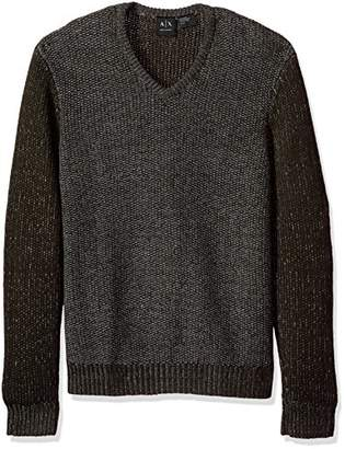 Armani Exchange A|X Men's Wool Blend Double Yard Dyed V Neck Sweater