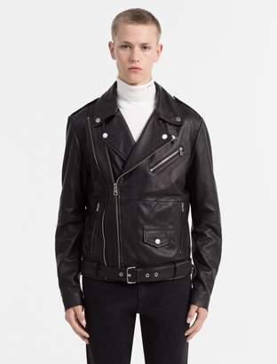 Calvin Klein pebble leather biker jacket