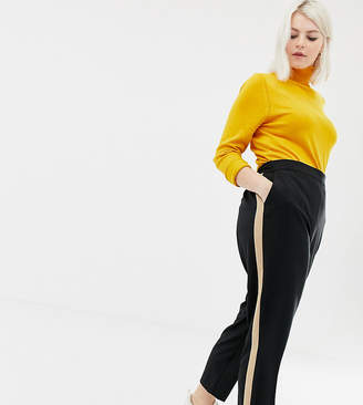 Asos DESIGN Curve tapered pants with camel contrast side panel
