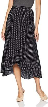 Three Dots Women's DC3230 Printed Crepe Wrap Skirt