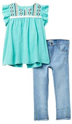 Jessica Simpson Top & Ankle Jeans Set (Toddler Girls)