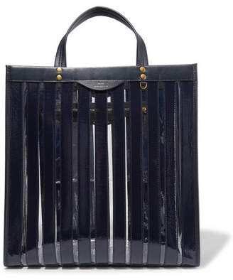 Anya Hindmarch Multi Stripes Patent-leather And Vinyl Tote - Midnight blue