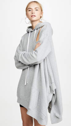 Unravel Project Double Cutout Asymmetrical Hoodie