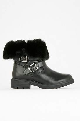 Wallis Black Buckle Faux Fur Winter Boot