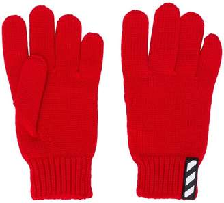 Off-White logo patch gloves