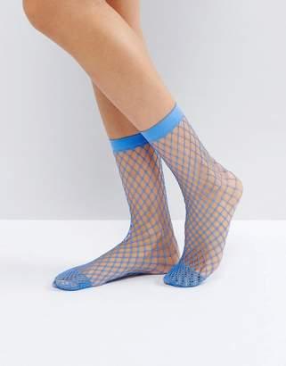 Asos Design Oversized Fishnet Ankle Socks In Cornflower Blue