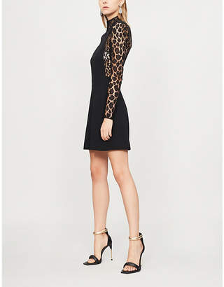 Givenchy Leopard print-panel wool-crepe and lace dresss