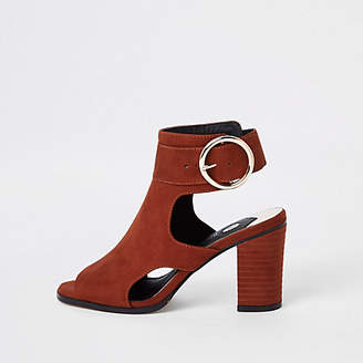 River Island Rust faux suede buckle shoe boots