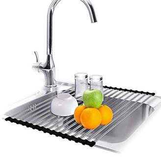 CHbaby-Home Roll up Dish Drying Rack Foldable Stainless Steel Multi-Purpose Durable Kitchen Sink Drainer